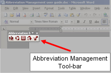 Abbreviation management winword pluging screenshot